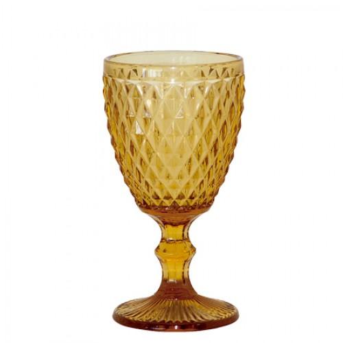 Conjunto 6 Taças para Agua Bico de Abacaxi Ambar Vidro 250ml