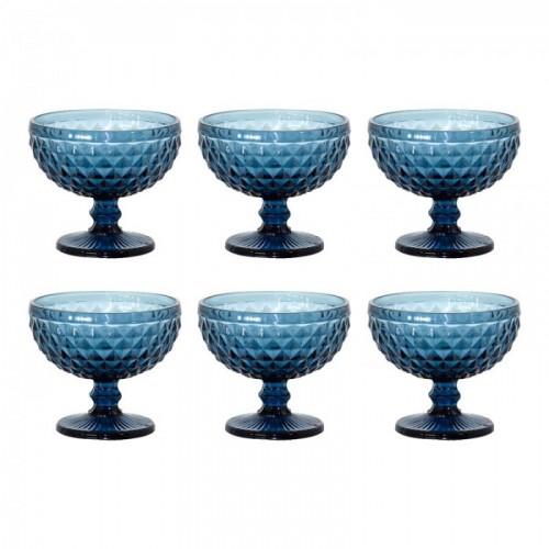Conjunto 6 Taças Sobremesa Bico de Abacaxi Azul Vidro