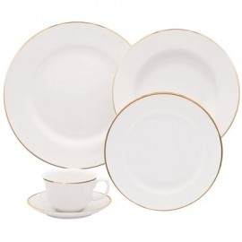 Aparelho de Jantar Porcelanas 30 Peças Borda Dourada  Flamingo Sofia - Oxford