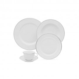 Aparelho de Jantar Porcelanas 30 Peças Borda Prata Flamingo Sofia - Oxford