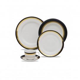 Aparelho de Jantar e Chá Oxford Porcelanas Flamingo Jazz - 30 peças